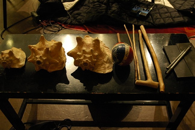 Conch shells (Lanbi), shaker (TchaTcha), drumsticks (bagett), iron strikers (Ogan)