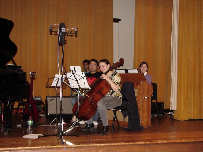 "Yorgos, Qun, Jiliane and Kathrine before recording ""Blank Page"""